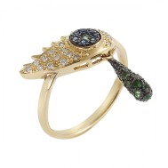 Ileana Makri, Crying Eye Ring with Tsavorites, Diamonds And Blue Sapphires, 1 575€