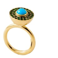 Elena Votsi, Cyclos Ring with Turquoise and Emeralds