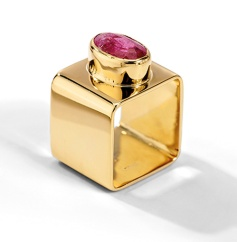 Vintage square ring set with a pink tourmaline