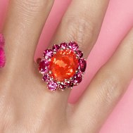 Mad Marguerite with fire opal & red spinels