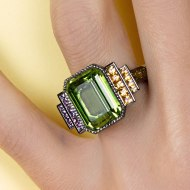 Wild Bride with peridot & yellow and mauve sapphires