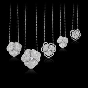 flower pave necklaces