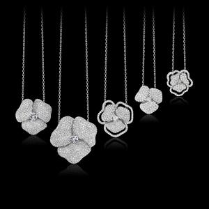 flower pave necklaces